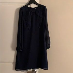 Navy Ribbon detail dress (size 6) - Hi There